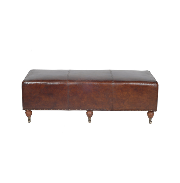 Balmoral Footstool in Vintage Cigar.