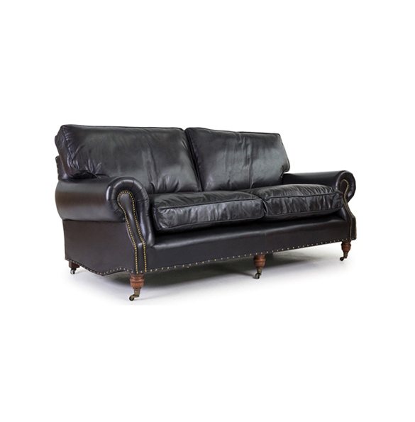 Balmoral Three Seater in Riders Black 222