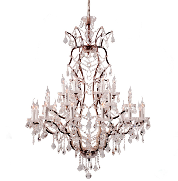 Crystal Large Chandelier in Antique Rust 1.