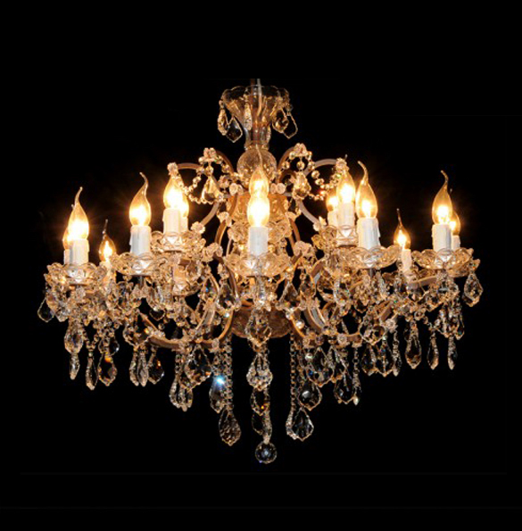 Crystal Medium Chandelier in Antique Rust 1