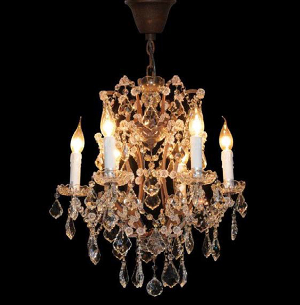 Crystal Small Chandelier in Antique Rust 1.