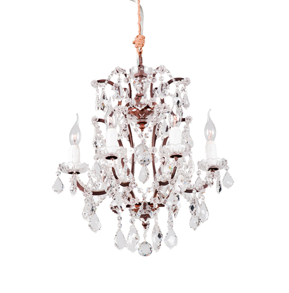 Crystal Small Chandelier in Antique Rust 2x.