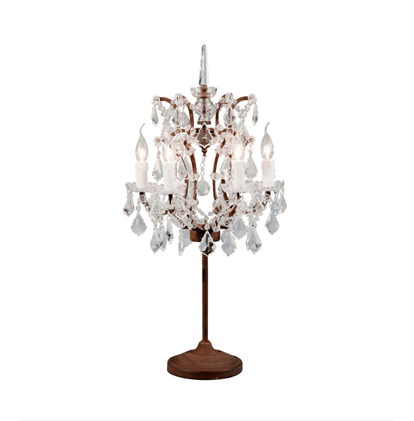 Crystal Table Lamp in Antique Rust 2x.