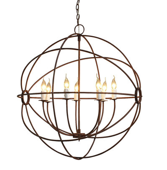 Gyro Medium Chandelier in Antique Rust.
