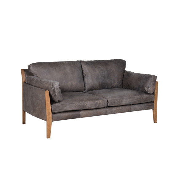 Loffee Two Seater in Destroyed Black and Weathered Oak 1X.