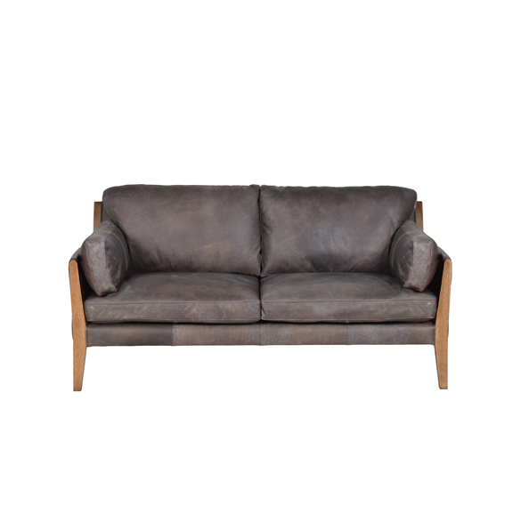 Loffee Two Seater in Destroyed Black and Weathered Oak 3