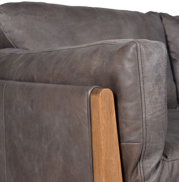 Loffee Two Seater in Destroyed Black and Weathered OakDetail2